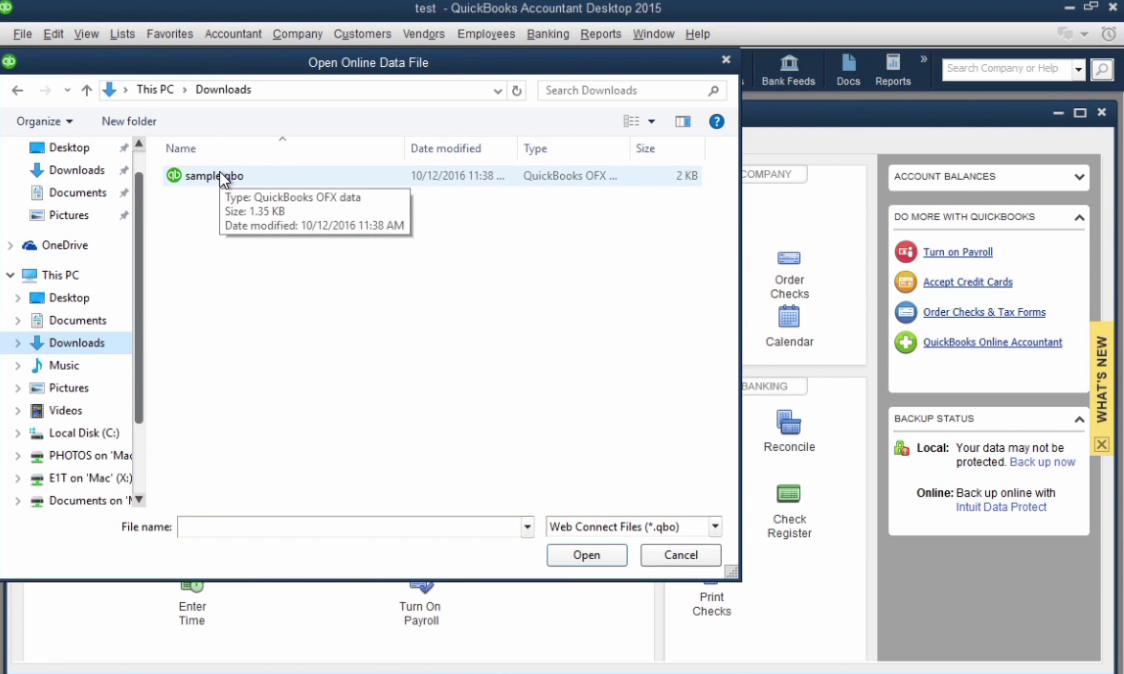 How to import CSV or Excel files as QBO into Quickbooks Step 24: open sample
