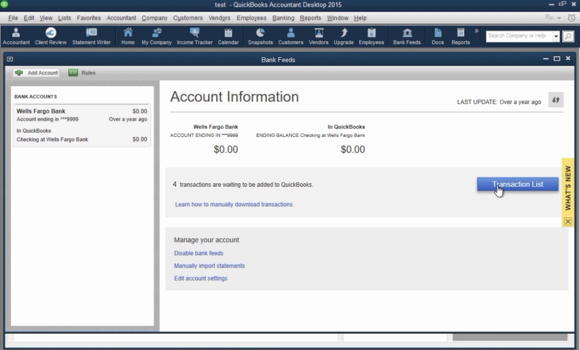 How to import CSV or Excel files as QBO into Quickbooks Step 27: click on transaction list