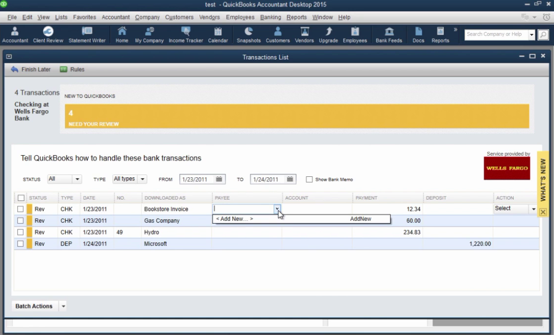 How to import CSV or Excel files as QBO into Quickbooks Step 29: payee column