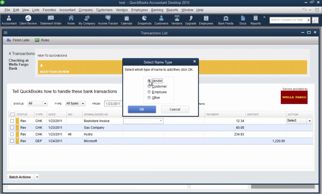 How to import CSV or Excel files as QBO into Quickbooks Step 30: select name type
