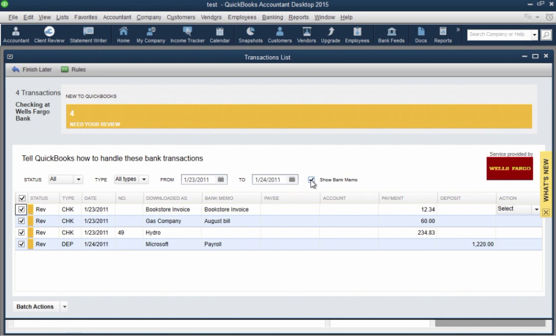 How to import CSV or Excel files as QBO into Quickbooks Step 32: Show Bank Memo