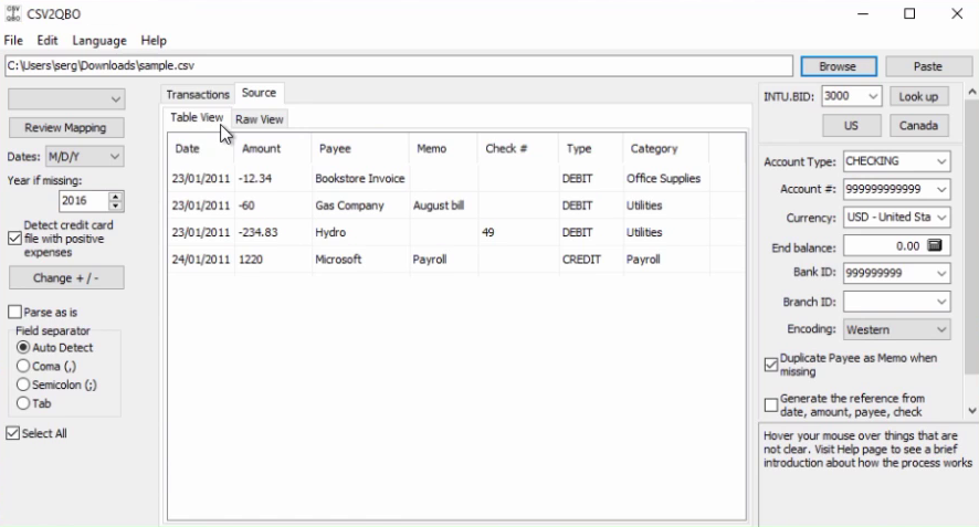 How to import CSV or Excel files as QBO into Quickbooks Step 4: source tab table view