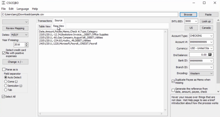 How to import CSV or Excel files as QBO into Quickbooks Step 5: source tab raw view