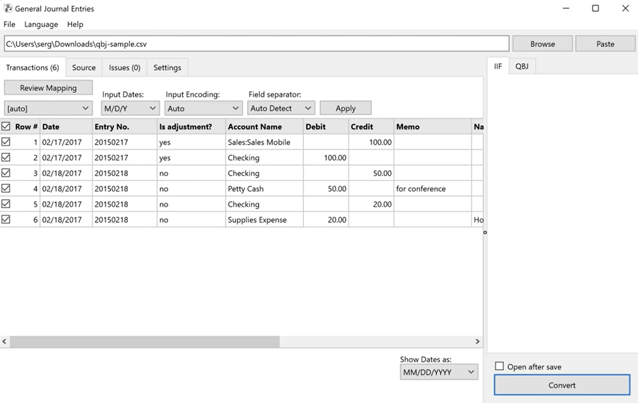 Import GJE from CSV Excel onto QB Desktop Step 28: iif is created