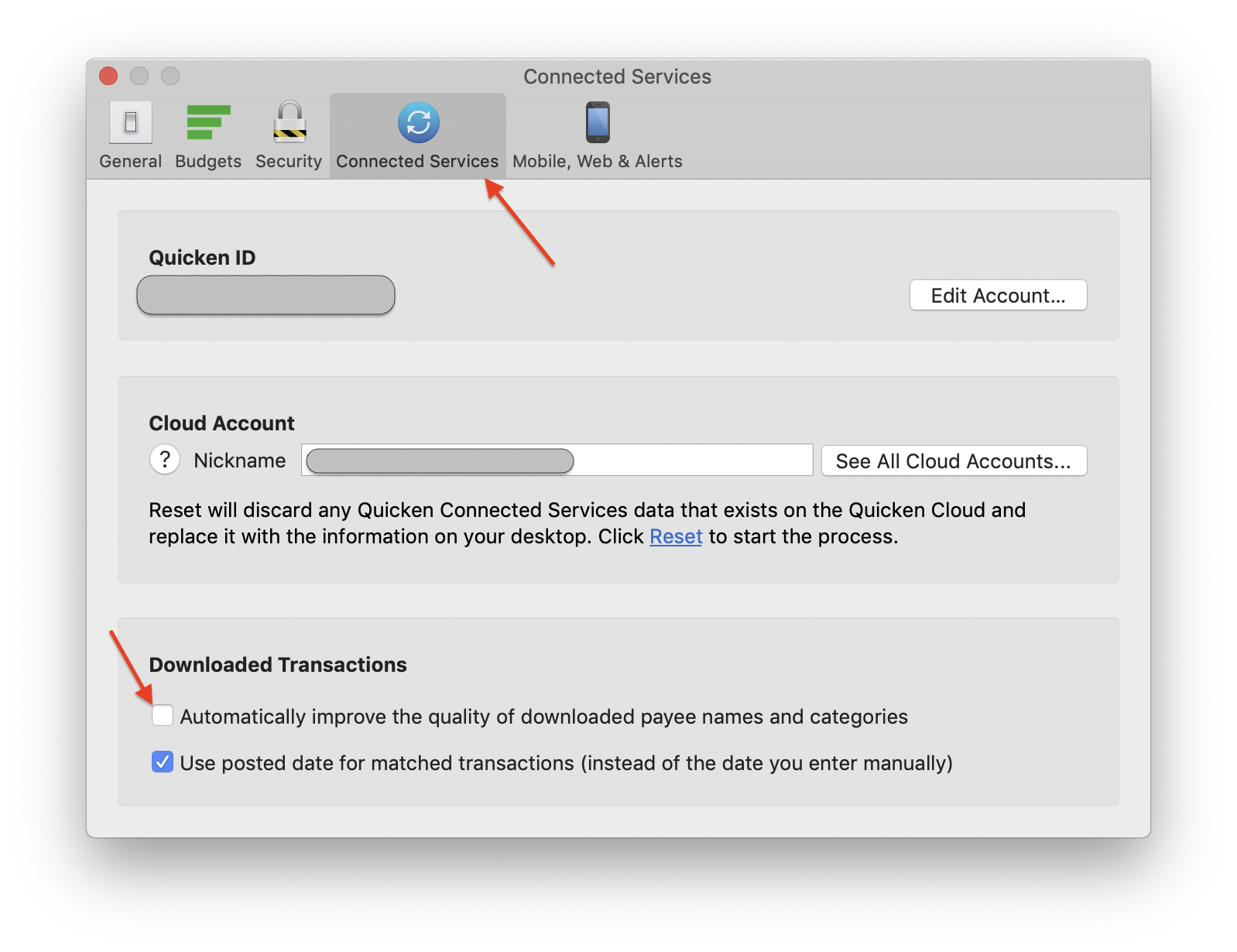 """Quicken Mac - Uncheck """"Automatically improve quality of downloaded payee names and categories"""""""