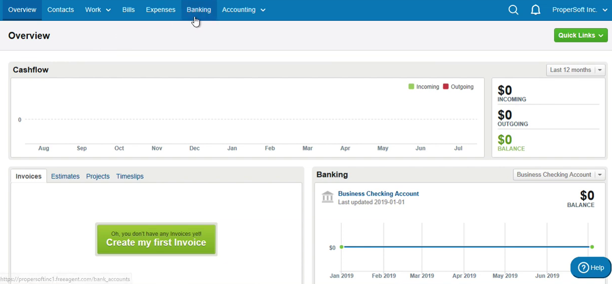Import OFX into FreeAgent Step 1: click Banking