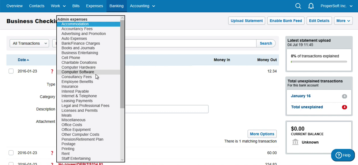 Import OFX into FreeAgent Step 10: select category