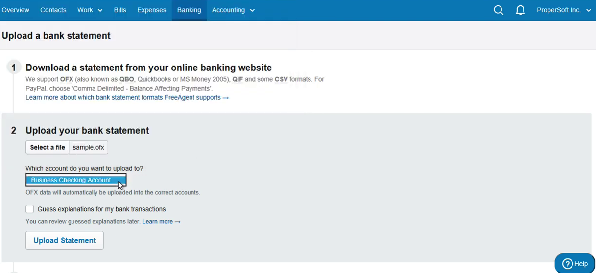 Import OFX into FreeAgent Step 6: select account