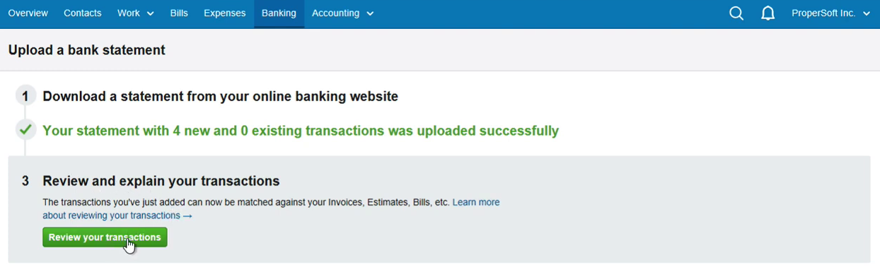 Import OFX into FreeAgent Step 8: click Review your transactions