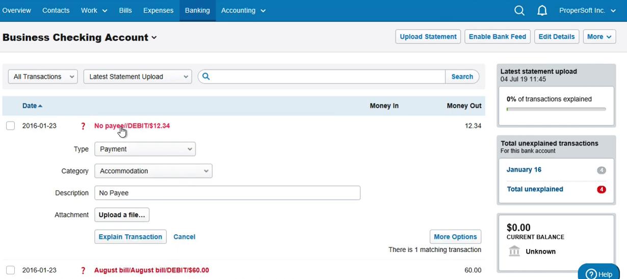 Import OFX into FreeAgent Step 9: statement with 4 new transactions