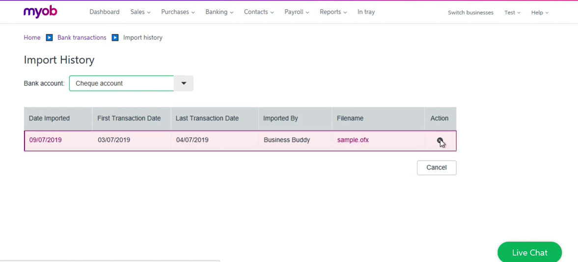 Import OFX into MYOB Step 11: click action