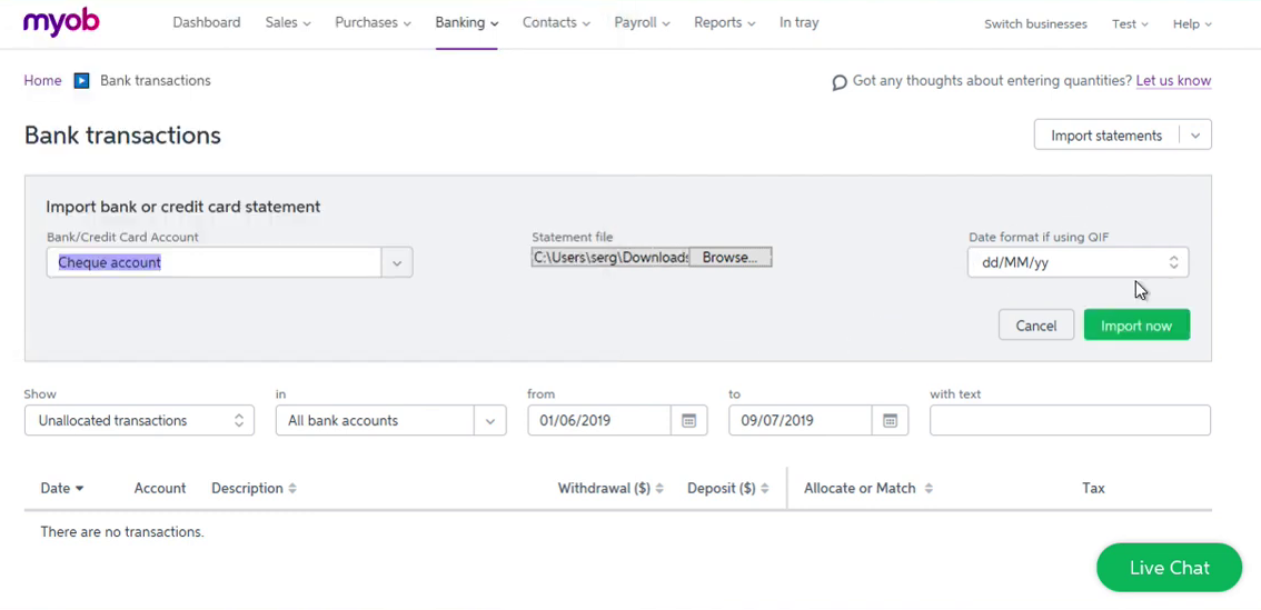 Import OFX into MYOB Step 5: Date format if using QIF