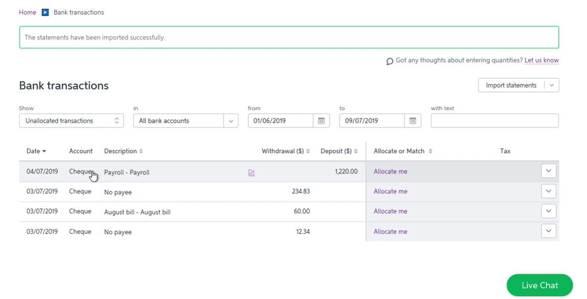 Import OFX into MYOB Step 7: statements imported successfully