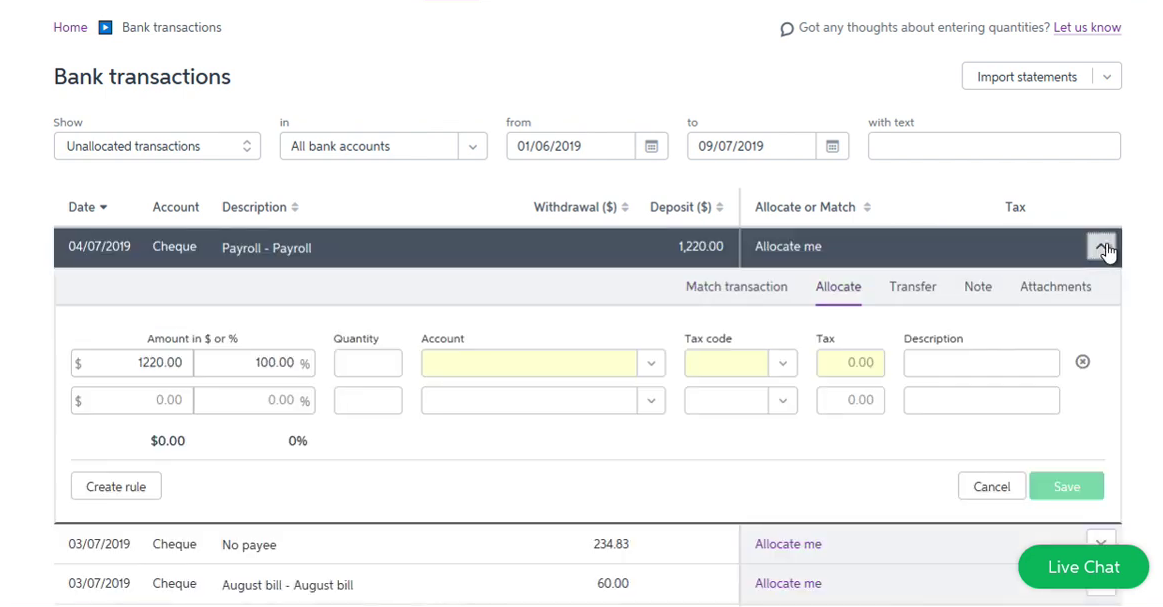 Import OFX into MYOB Step 8: review transactions