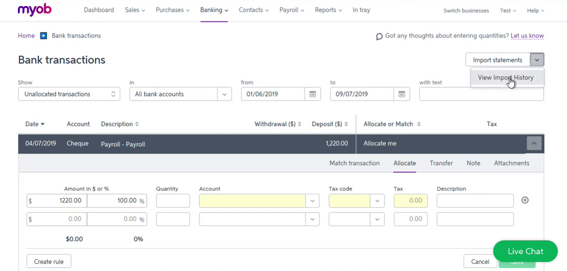 Import OFX into MYOB Step 9: View Import History