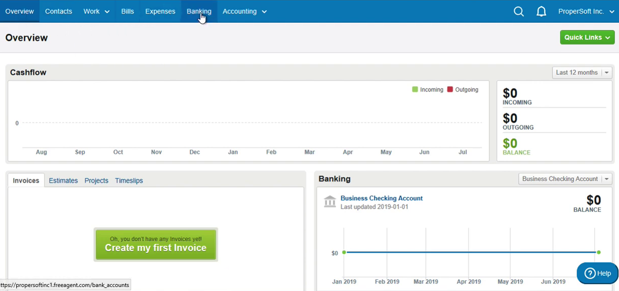 Import QBO into FreeAgent Step 1: click Banking