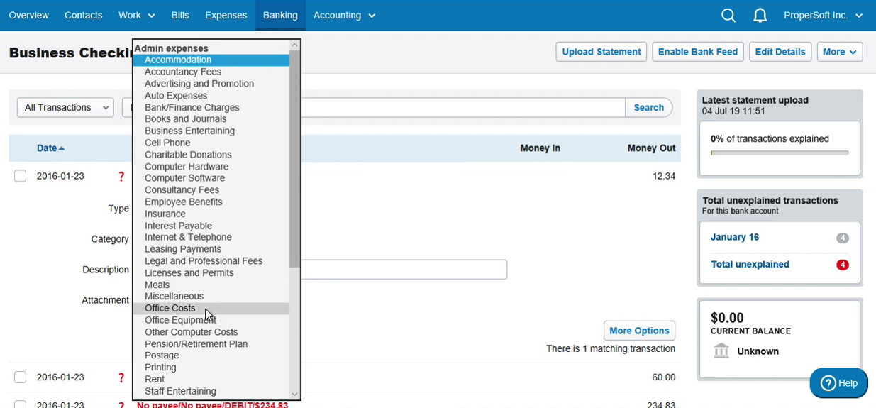 Import QBO into FreeAgent Step 10: select category