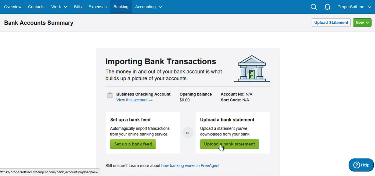 Import QBO into FreeAgent Step 2: click Upload a bank statement