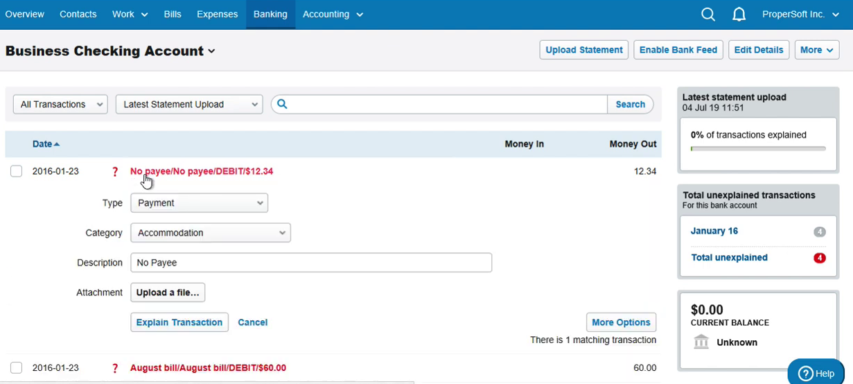 Import QBO into FreeAgent Step 9: statement with 4 new transactions