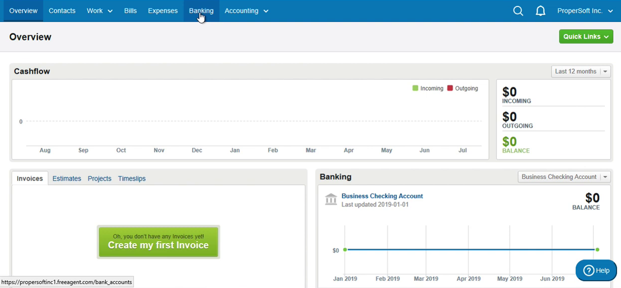 Import QFX into FreeAgent Step 1: click Banking