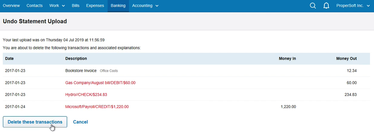 Import QFX into FreeAgent Step 14: Delete these transactions