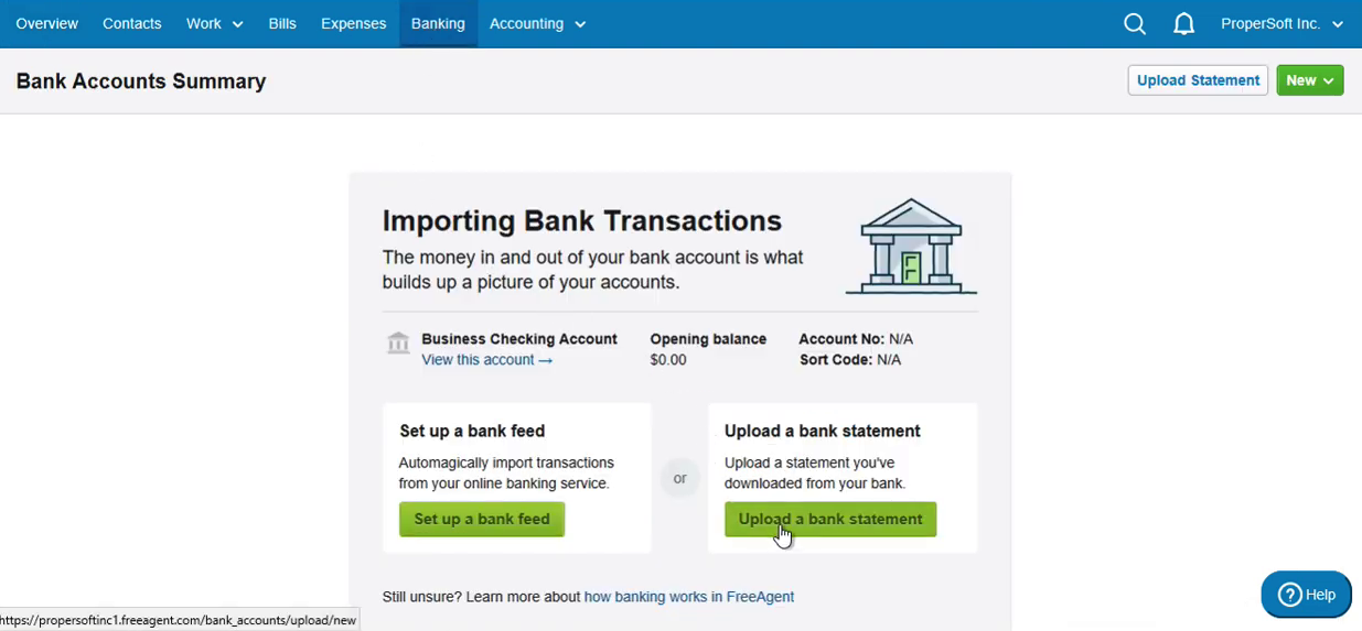 Import QFX into FreeAgent Step 2: click Upload a bank statement