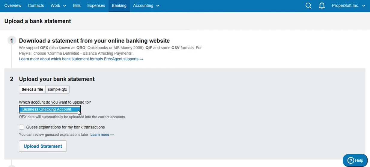 Import QFX into FreeAgent Step 6: select account