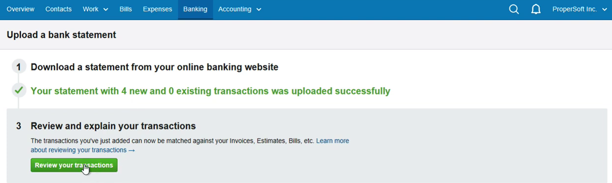 Import QFX into FreeAgent Step 8: click Review your transactions