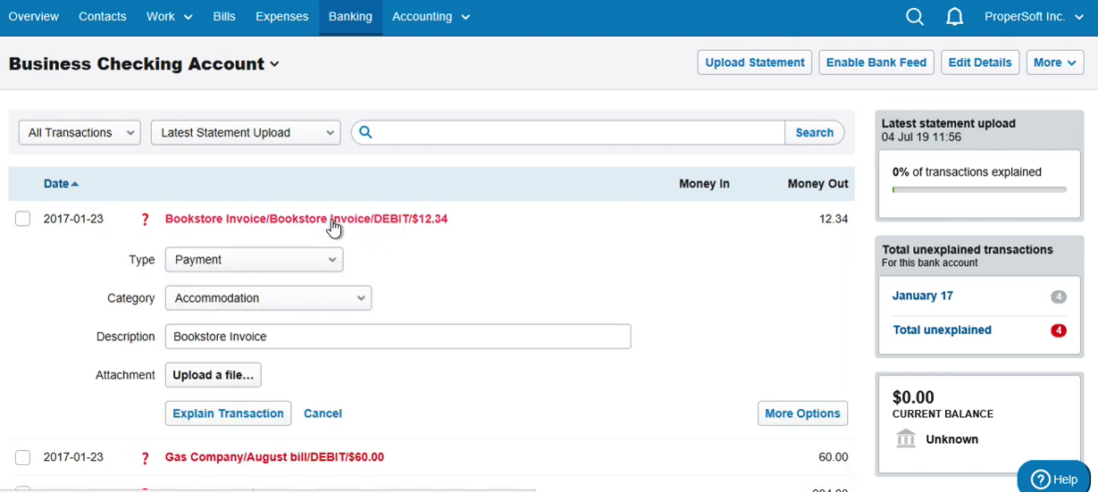 Import QFX into FreeAgent Step 9: statement with 4 new transactions