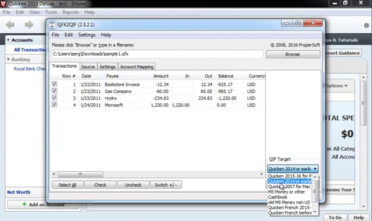 How to import QFX Web Connect files as QIF files into Quicken 2013 or earlier Step 11: target