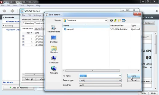 How to import QFX Web Connect files as QIF files into Quicken 2013 or earlier Step 13: save qif file