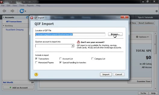 How to import QFX Web Connect files as QIF files into Quicken 2013 or earlier Step 15: browse