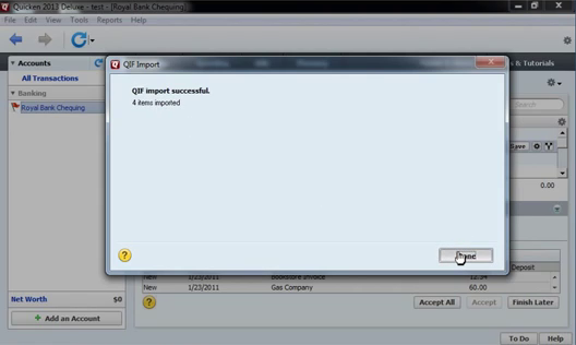 How to import QFX Web Connect files as QIF files into Quicken 2013 or earlier Step 17: qif import successful