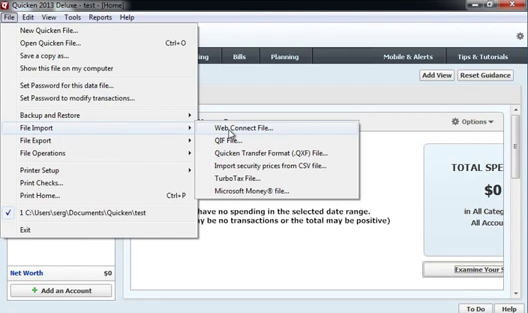 How to import QFX Web Connect files as QIF files into Quicken 2013 or earlier Step 2: ile import