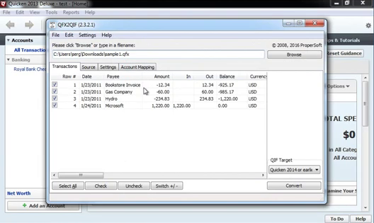 How to import QFX Web Connect files as QIF files into Quicken 2013 or earlier Step 9: review transactions