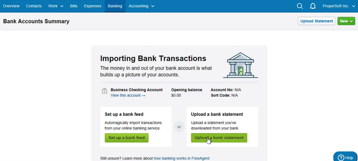 Import QIF into FreeAgent Step 2: click Upload a bank statement