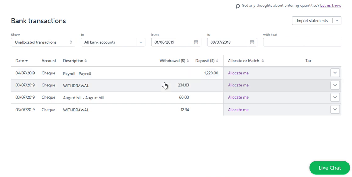 Import QIF into MYOB Step 10: statements imported successfully