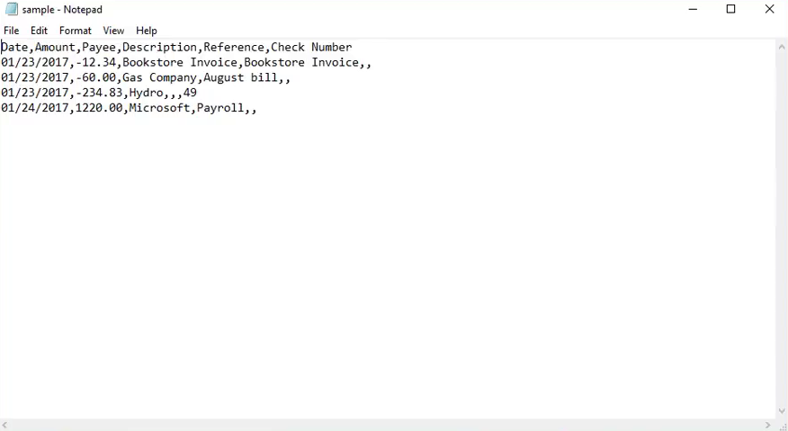 Import Quicken QFX files into Excel Step 11: how csv file looks like, xero