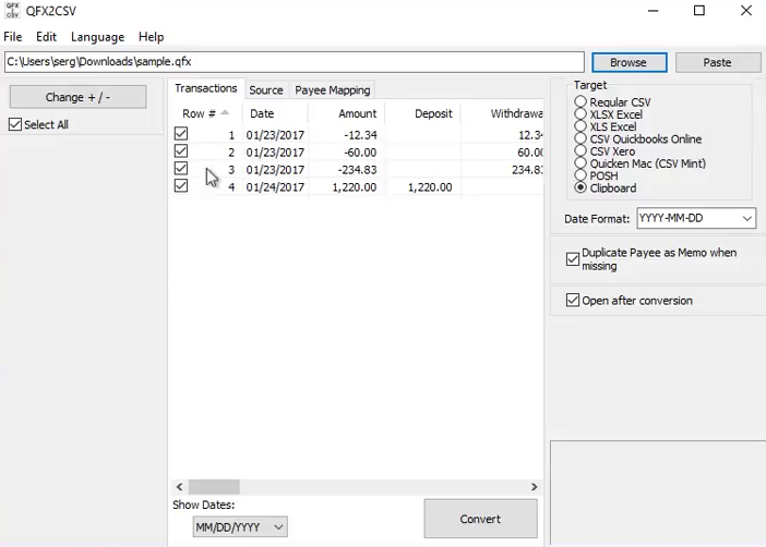 Import Quicken QFX files into Excel Step 2: four transactions