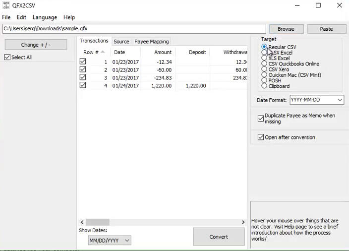 Import Quicken QFX files into Excel Step 4: target