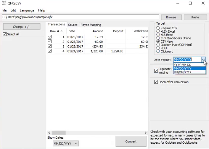 Import Quicken QFX files into Excel Step 5: date format