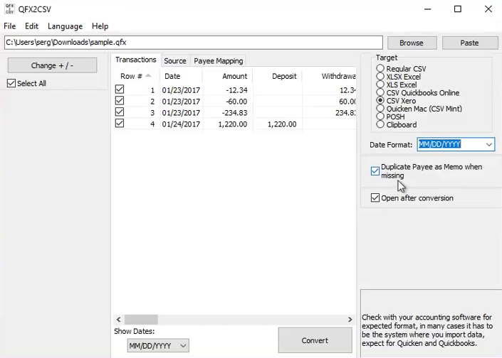 Import Quicken QFX files into Excel Step 6: dublicate payee