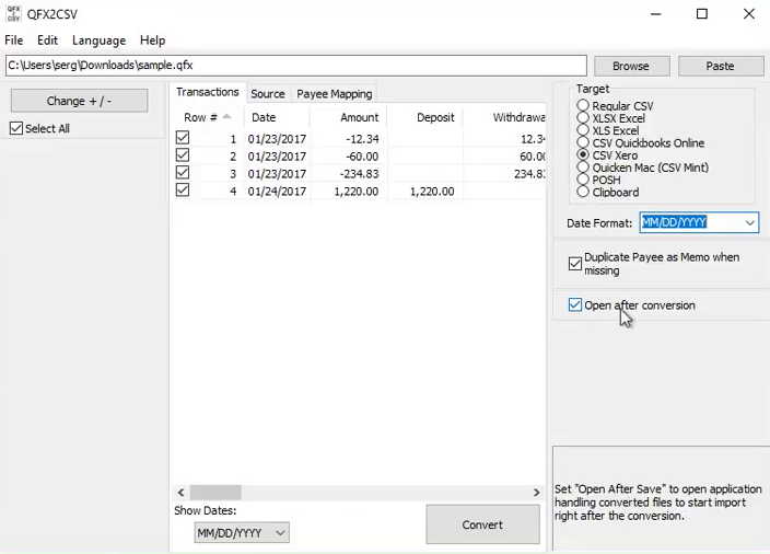 Import Quicken QFX files into Excel Step 7: Open after conversion