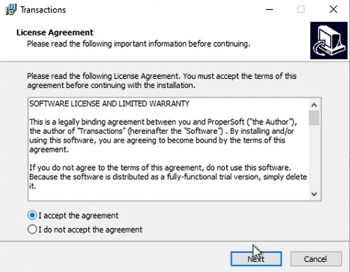 How to install a ProperSoft converter Windows Step 4: accept the agreement