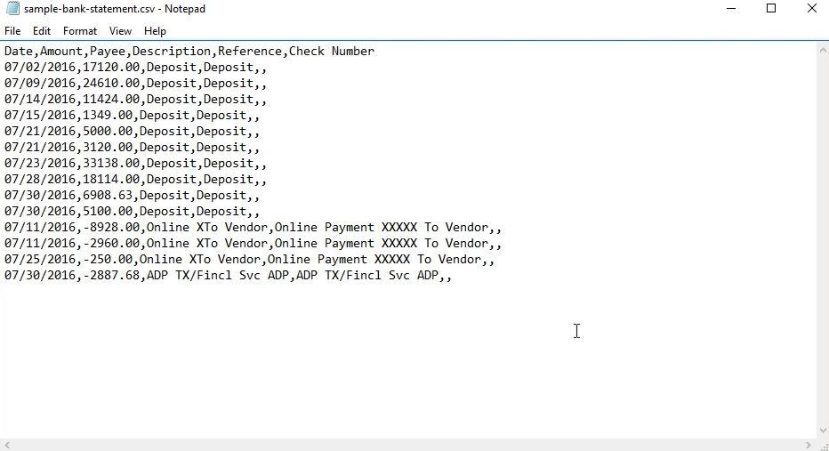 How to make CSV for Xero from a PDF statement Step 14: csv in notepad