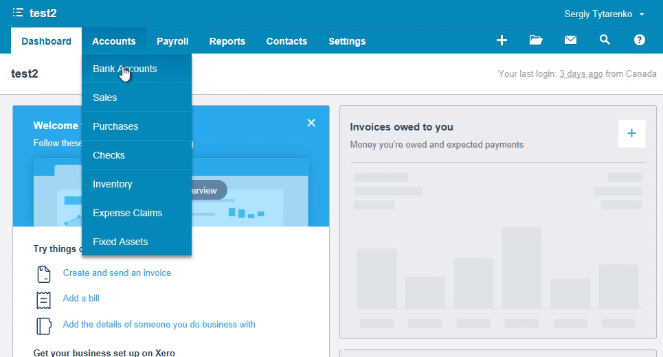 How to make CSV for Xero from a PDF statement Step 15: test account in xero