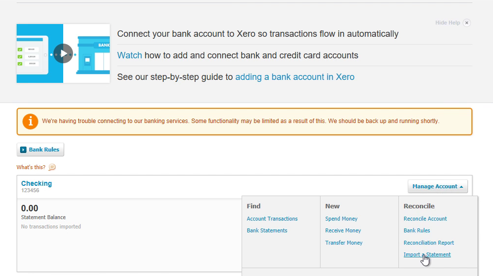 How to make CSV for Xero from a PDF statement Step 16: import a statement