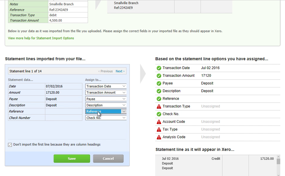 How to make CSV for Xero from a PDF statement Step 18: reference