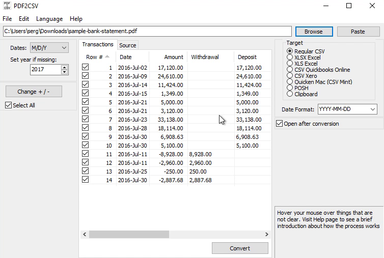 How to make CSV for Xero from a PDF statement Step 3: review bank2csv
