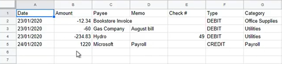How to map CSV amount columns Step 2: layout